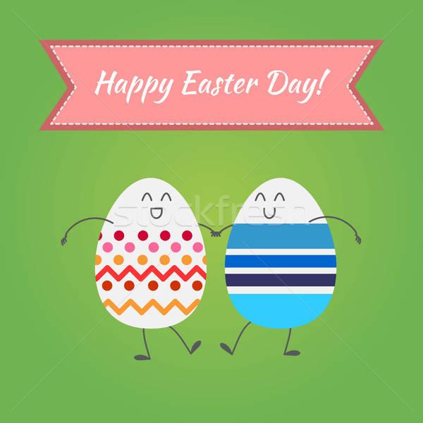 Happy easter, vector happy eggs Stock photo © barsrsind