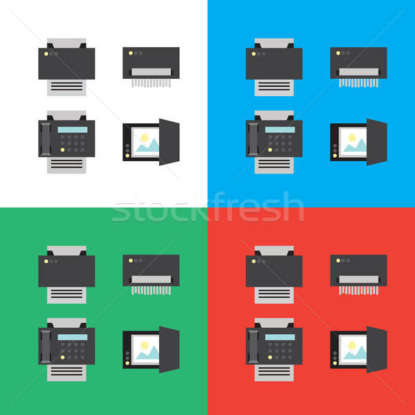 Print scanner fax shredder iconen illustraties Stockfoto © barsrsind