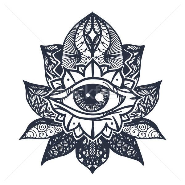 Eye on Lotus Tattoo Stock photo © barsrsind