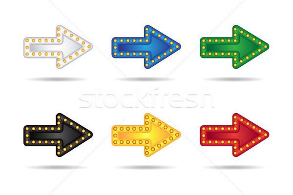 Stockfoto: Neon · pijlen · ingesteld · elektronische · lampen