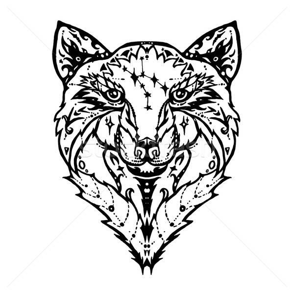 Сток-фото: волка · татуировка · иллюстрация · изолированный · подробный