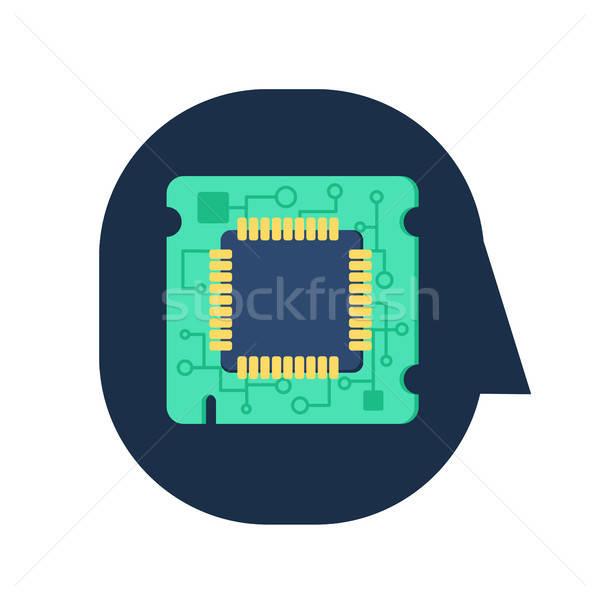 Számítógép processzor chip emberi fej szimbólum Stock fotó © barsrsind