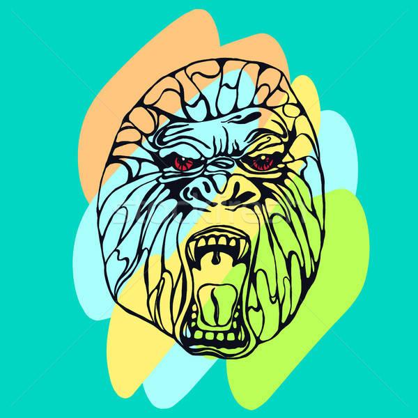 Gorille tatouage détaillée couleur design Photo stock © barsrsind