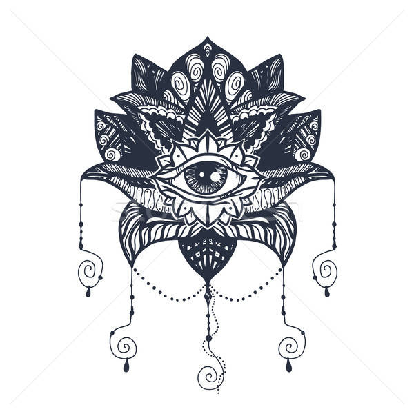 Oka Lotos tatuaż vintage mandala Zdjęcia stock © barsrsind