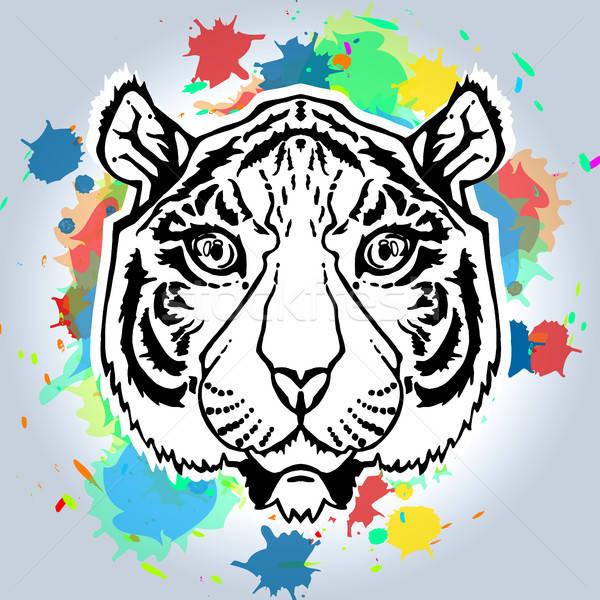 Line Art Tiger Stock photo © barsrsind