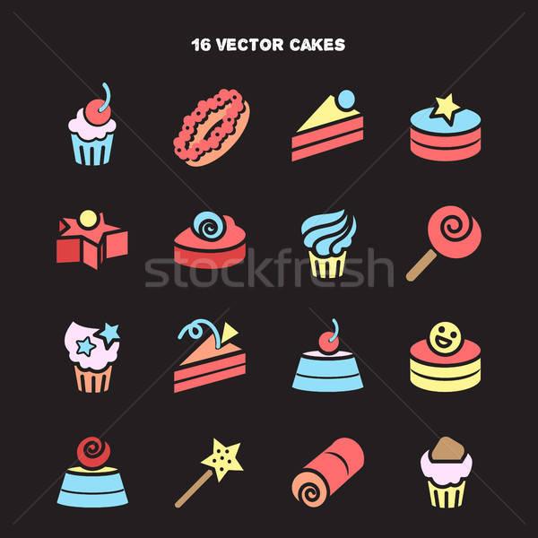 Stock fotó: Gyűjtemény · pékség · torta · ikonok · cukorka · édes
