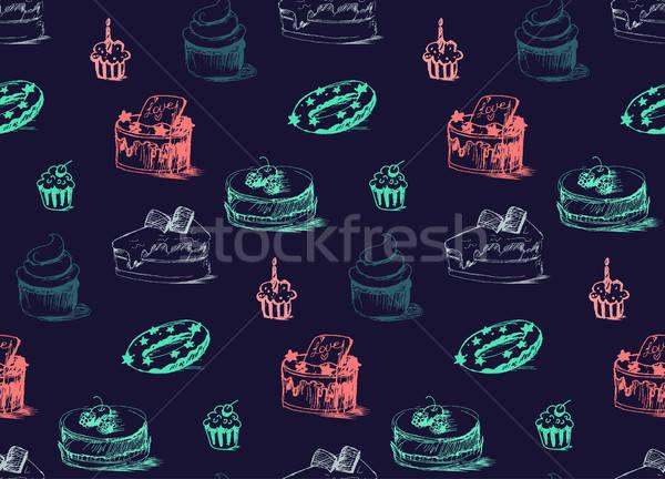 Stock photo: Tasty Cakes Seamless Pattern
