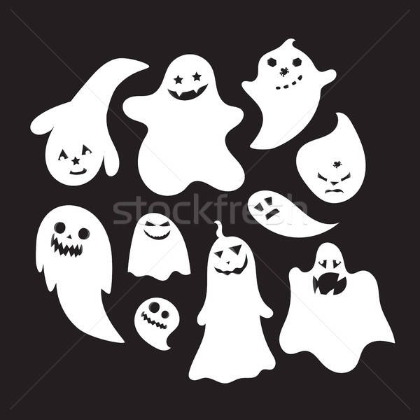 Set of halloween emotional ghosts  Stock photo © barsrsind