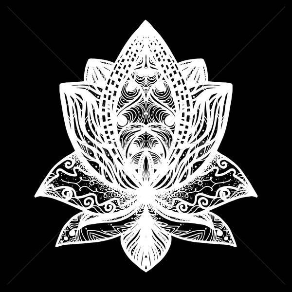 Fleur Lotus tatouage magie symbole imprimer Photo stock © barsrsind