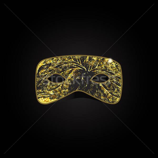 魔法 金 マスク 黒 フローラル パターン ストックフォト © barsrsind
