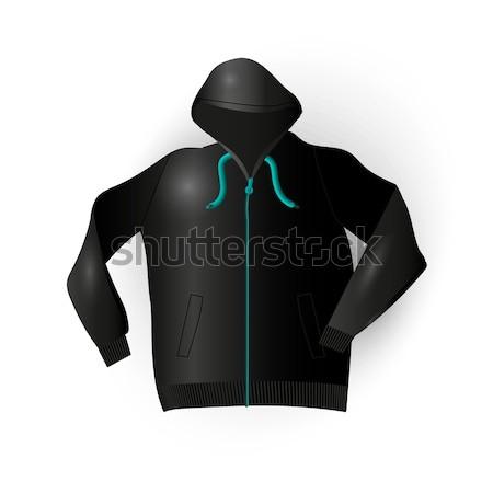 Fekete sport esőkabát kényelmes ruházat vektor Stock fotó © barsrsind