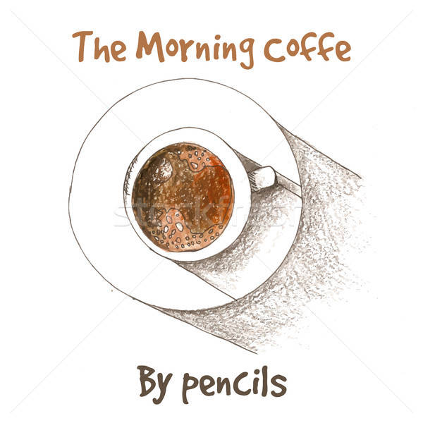 Cup of coffe by color pencils Stock photo © barsrsind