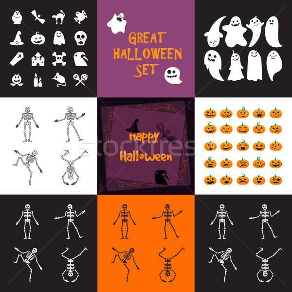 Halloween icons set Stock photo © barsrsind