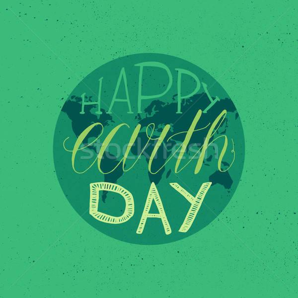 Boldog föld napja illusztráció nyomtatott poszter üdvözlet Stock fotó © barsrsind