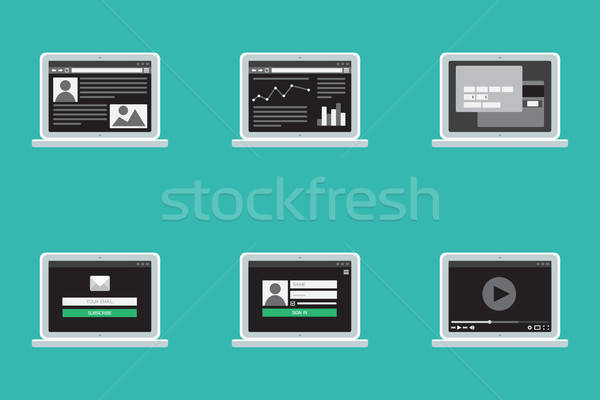 Adaptive Web Template Form On Notebook Stock photo © barsrsind