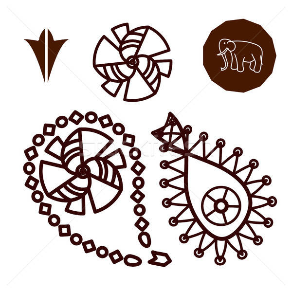 Henna indiai tetoválás firka elemek fehér Stock fotó © barsrsind