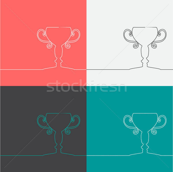 Champion cup icons Stock photo © barsrsind