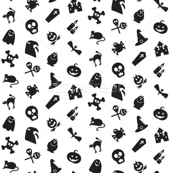 Halloween icons seamless pattern Stock photo © barsrsind