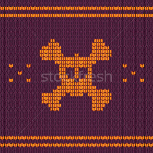 Knitted skull with bones, sweater for halloween and christmas Stock photo © barsrsind