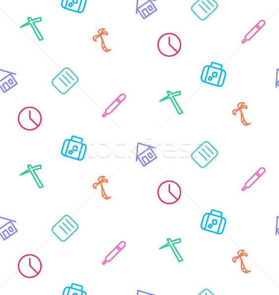 Vector seamless pattern from set of life icons: work, hospital,  Stock photo © barsrsind