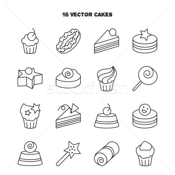 Kolekcja piekarni ciasto ikona candy słodkie Zdjęcia stock © barsrsind