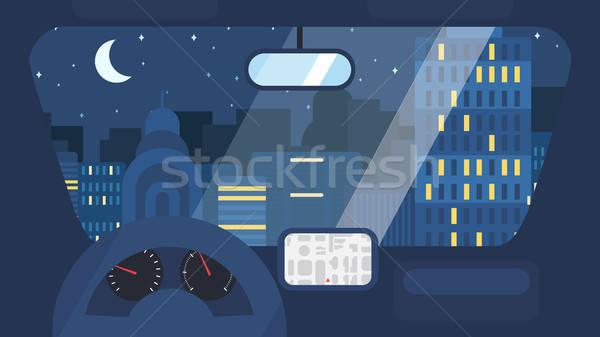 şehir hayat araba gece kasaba sokak Stok fotoğraf © barsrsind