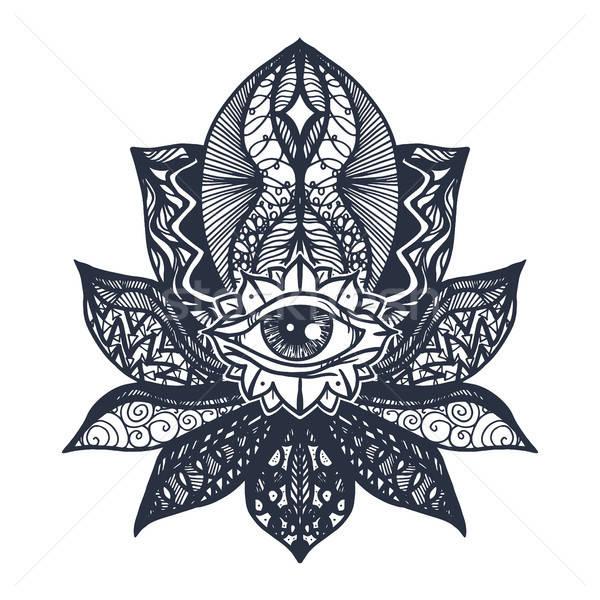 Göz lotus dövme bağbozumu tüm mandala Stok fotoğraf © barsrsind