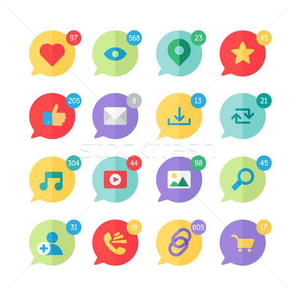 Web Virtual Socail Network Icons Stock photo © barsrsind