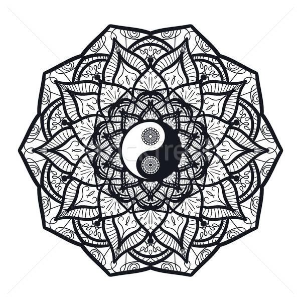 Bağbozumu yin yang mandala simge baskı dövme Stok fotoğraf © barsrsind
