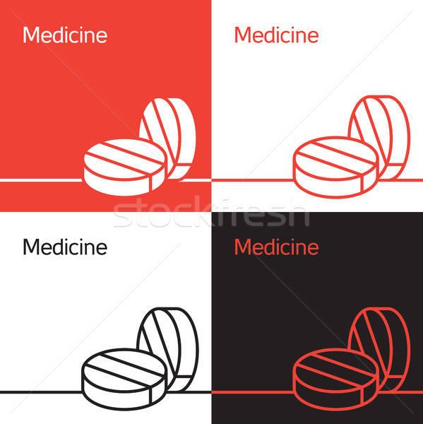 Gyógyszer ikon logo segítség tabletta egészség Stock fotó © barsrsind