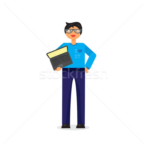 Employee with notebook Stock photo © barsrsind