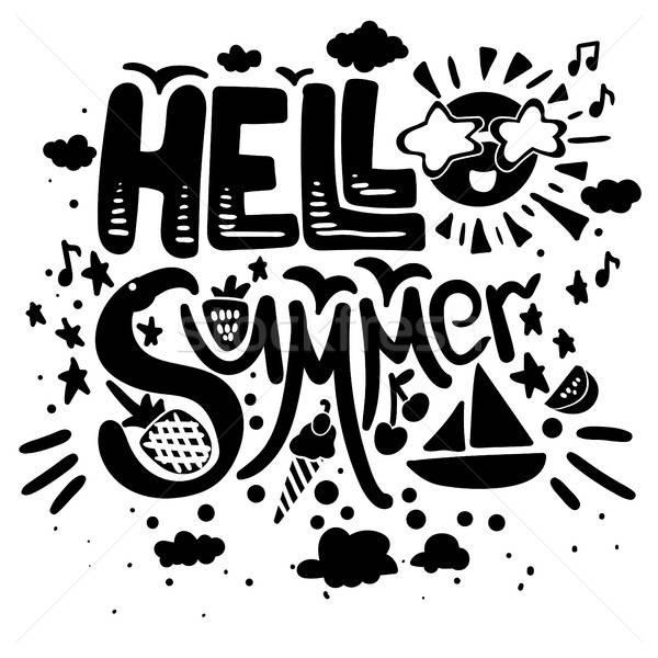 Hello nyár vektor poszter ecset szimbólumok Stock fotó © barsrsind