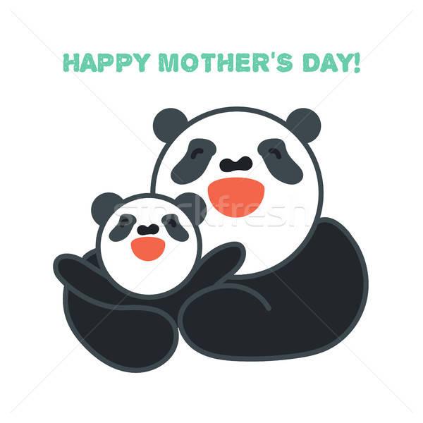 Etiket kart mutlu anne çocuk panda Stok fotoğraf © barsrsind