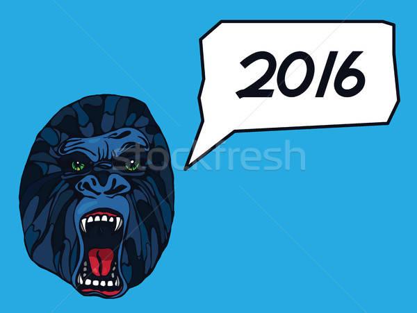 Gorilla tattoo gedetailleerd tekst bubble nieuwe Stockfoto © barsrsind