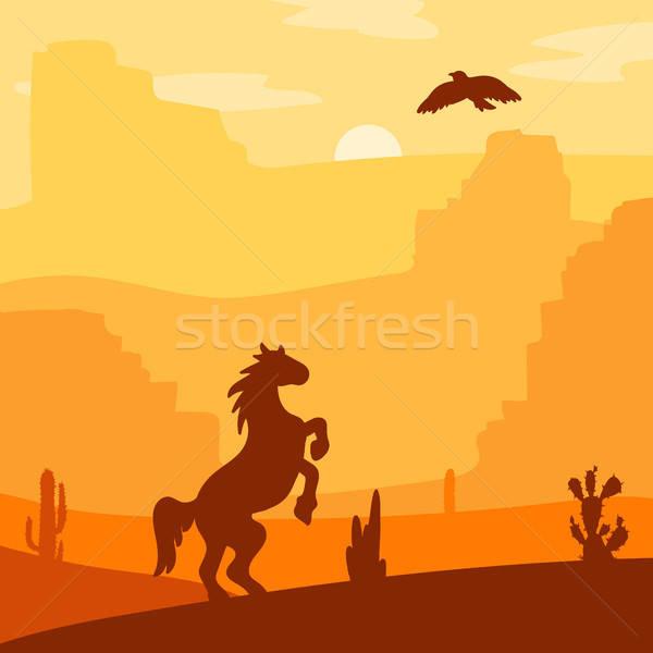 西 風景 レトロな 馬 砂漠 ストックフォト © barsrsind