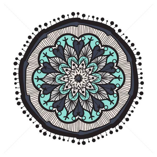 Mandala línea plantilla dibujado a mano árabe indio Foto stock © barsrsind