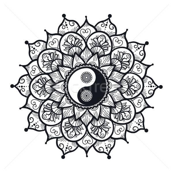 Vintage Инь-Ян мандала символ печать татуировка Сток-фото © barsrsind