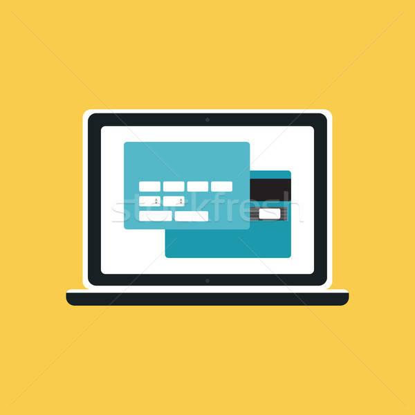 Háló sablon számítógép online vásárlás űrlap elemek Stock fotó © barsrsind