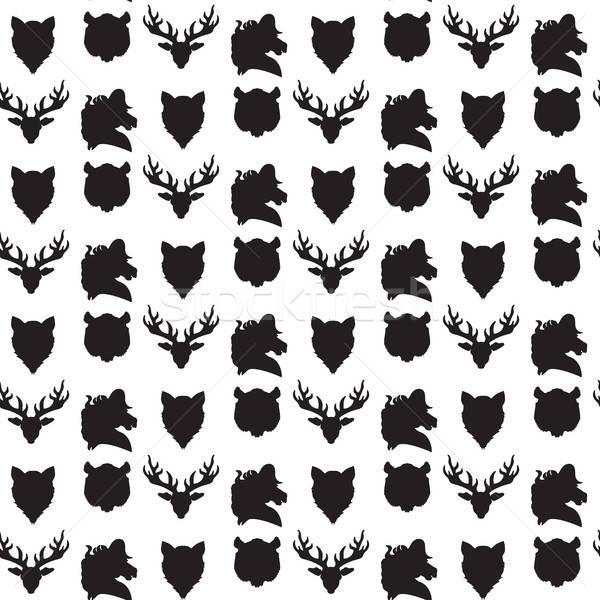 Vadvilág végtelen minta állatkert dísz nyomtatott szövet Stock fotó © barsrsind