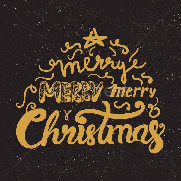 Neşeli Noel happy new year altın örnek Stok fotoğraf © barsrsind