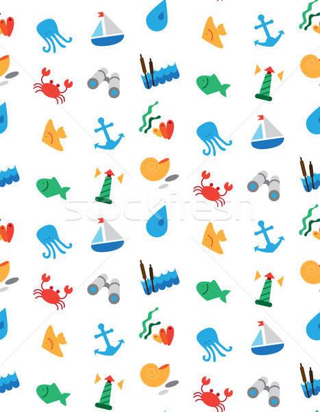 Isolated marine and fishing seamless pattern Stock photo © barsrsind