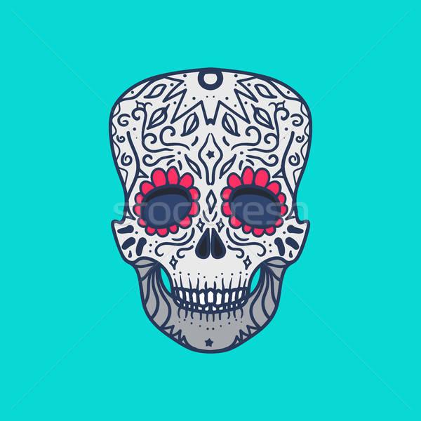Mexicano detalhado crânio ornamento imprimir adesivo Foto stock © barsrsind