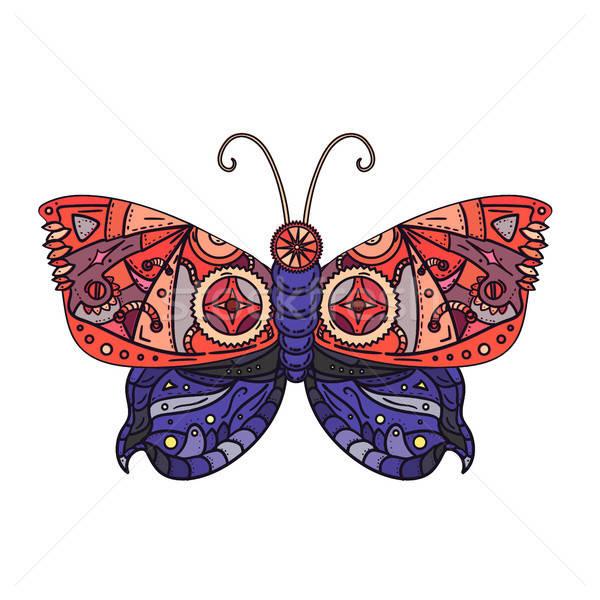 Steampunk butterfly tattoo Stock photo © barsrsind