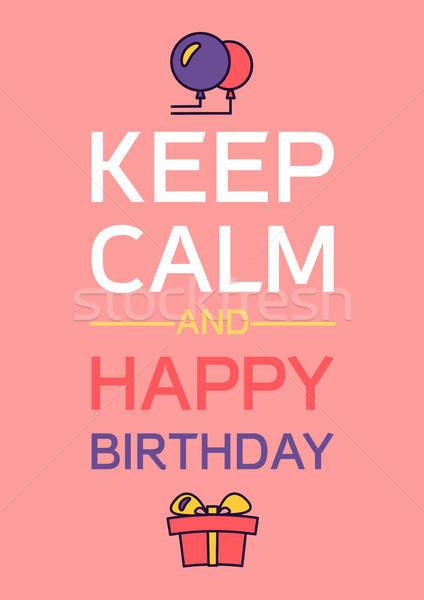 Stockfoto: Gelukkige · verjaardag · poster · viering · wenskaart · vector