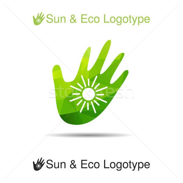 Bio logo ikon ökológia szimbólum nap Stock fotó © barsrsind