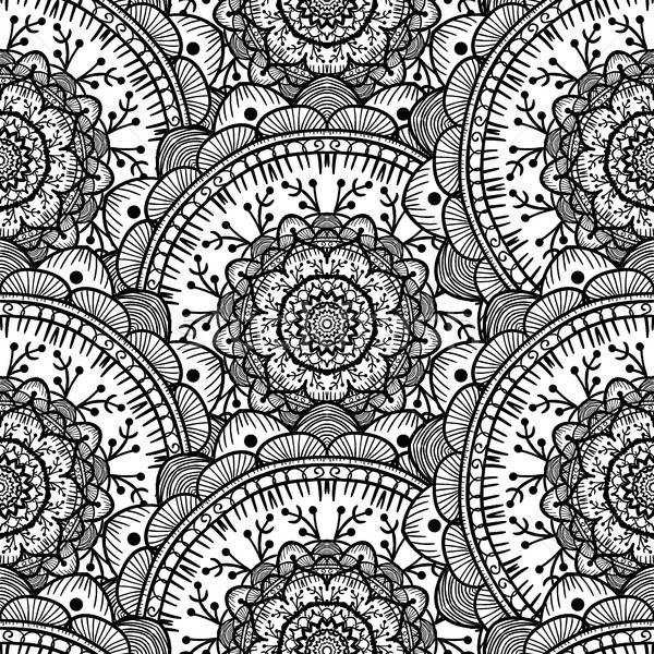 Foto stock: Mandala · preto · e · branco · árabe · indiano