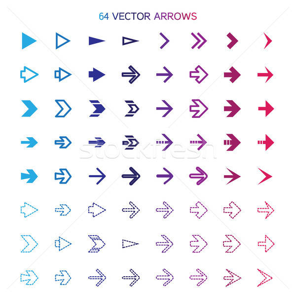 Isolated arrows set, undo and previous buttons Stock photo © barsrsind