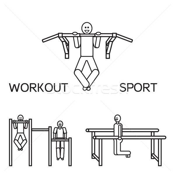 Artículos deportivos calle entrenamiento bar vector hombre Foto stock © barsrsind