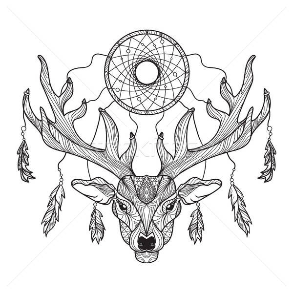 Deer head with horns and dreamcatcher Stock photo © barsrsind