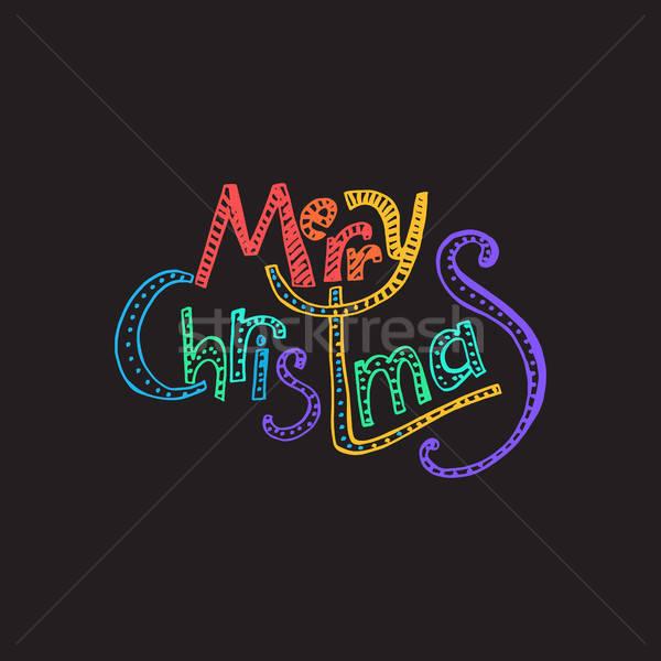 Alegre Navidad feliz año nuevo dibujado a mano ilustración navidad Foto stock © barsrsind